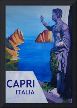 Capri view with Ancient Roman Empire Statue Poster
