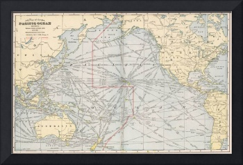 Vintage Map of The Pacific Ocean (1901)