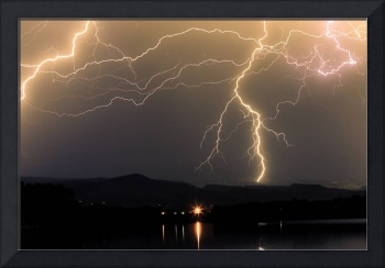 Rocky Mountains Foothills Lake  Lightning Storm