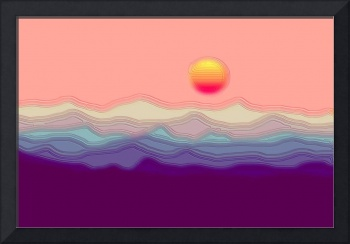 Astract Decorative Hilly Salmon Sunrise