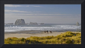 Horseback riding on Bandon Beach, Oregon