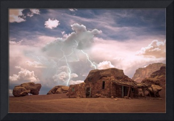 Southwest Desert Rock House Lightning