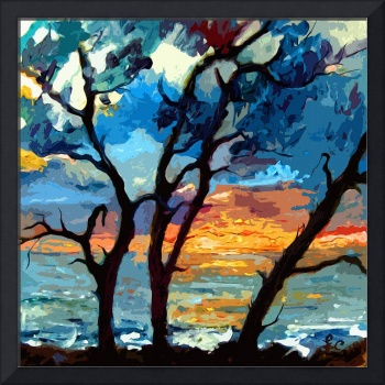 Jekyll island Sunrise Modern Painting by Ginette