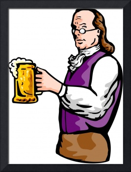 Benjamin Franklin gentleman holding mug of beer