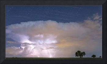 Thunderstorm Cell Panorama Striking it Up