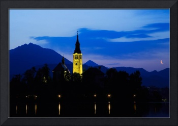 Dawn breaks over Lake Bled