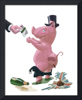 fat british bank pig getting government handout