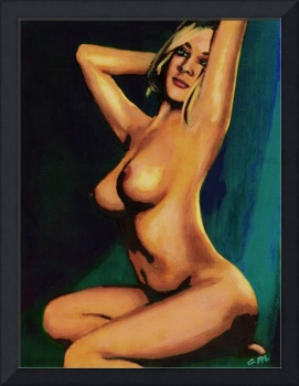 ORIGINAL FINE ART FEMALE NUDE PAINTING SEATED 7C M
