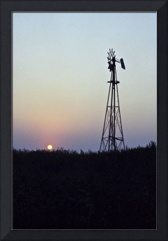 Beautiful Sunset and Windmill