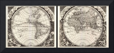 Map of the World in Two Hemispheres by Zahn