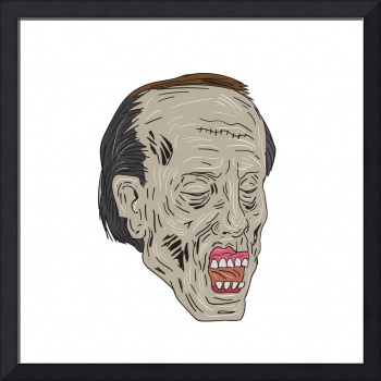 Zombie Head Three Quarter View Drawing