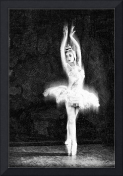 Ballet Dancer Extended Black and White
