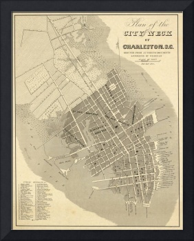 Vintage Map of Charleston South Carolina (1844)