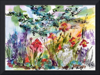 Angel Garden Summer Flowers Watercolor
