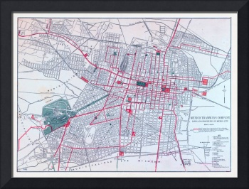 Vintage Mexico City Tramway Map (1910)