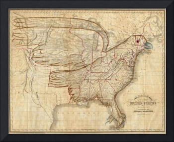 Vintage United States Eagle Map (1833)