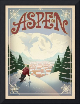 Aspen, Colorado - Retro Travel Poster