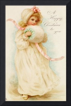 Christmas card depicting a girl with a muff (colou