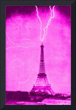 Eiffel Tower Struck by Lightening Pink & violet