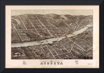 Vintage Map of Augusta Maine (1878)