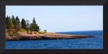 Two harbors and Lake Superior skyline