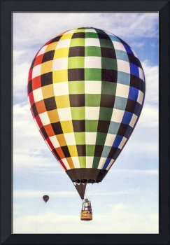 Hot Air Balloon with Gingham Plaid Pattern