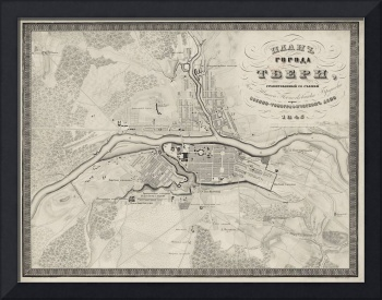Vintage Map of Tver Russia (1845)