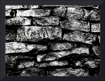 old brick wall in b&w