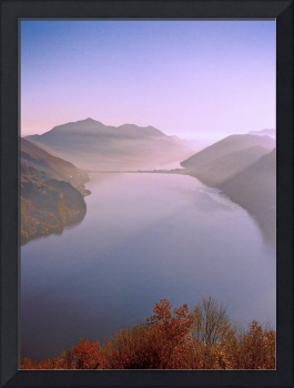 Autumn sunset over the Lake Lugano