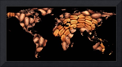 World Map Silhouette - Pecans in a Design