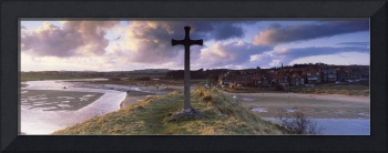 Wooden cross at a harbor Alnmouth Harbor River Al