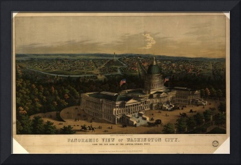 1856 Washington D.C. Bird's Eye View Panoramic Map