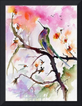 Sweet Hummingbird and Pink Sky Watercolor Painting