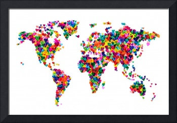 Love Hearts Map of the World Map