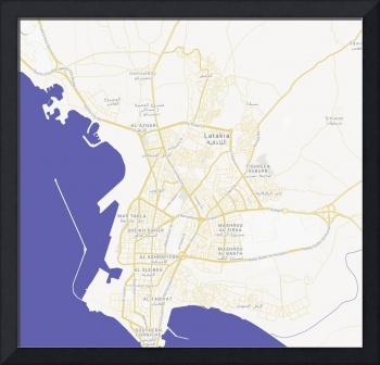 Minimalist Modern Map of Latakia, Syria 1