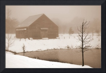 Old Dutch Barn sepia snow #2