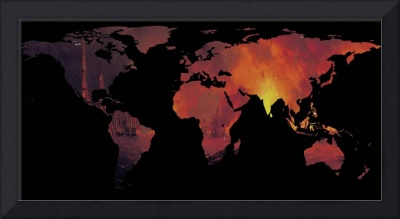 World Map Silhouette - The World is On Fire