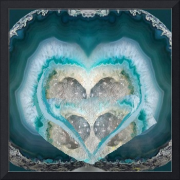 rock and blue heart geode