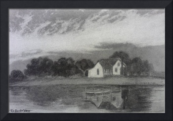 Cottage on Currituck Sound charcoal