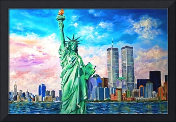 NY - Manhattan, Twin Towers, Statue of Liberty