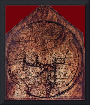 Hereford Mappa Mundi 1300 Dark Red Corners