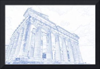 Blueprint drawing of Greece Palace  Parthenon Icon