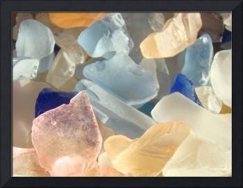 Beach Seaglass Art Prints Pink Orange Blue Coast