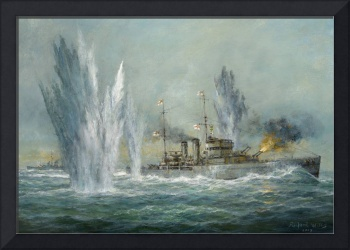 HMS Exeter engaging in the Graf Spree by R. Willis