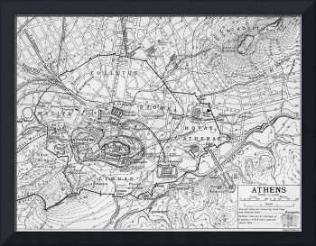 Vintage Map of Athens Greece (1911)