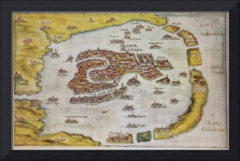 Vintage Map of Venice Italy (1649)