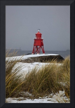 A Red Lighthouse Along The Coast South Shields, T