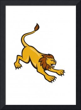 Angry Lion Attacking Side