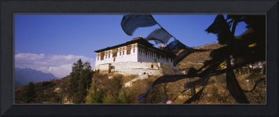 Low angle view of a temple on a hill