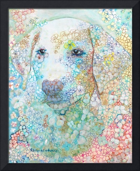 Charlie White Labrador Retriever Puppy Flower Dog